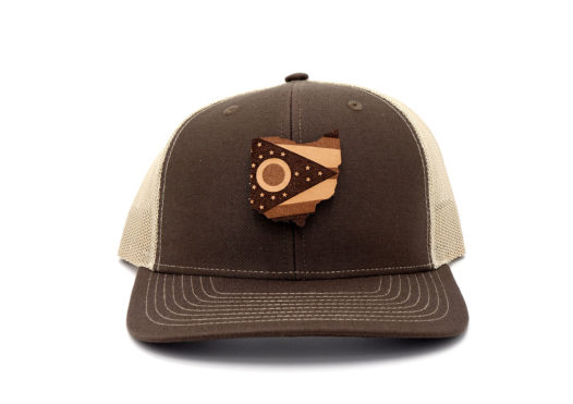 Ohio-Brown-Khaki-Trucker-Snapback-Branded-Leather-Hat