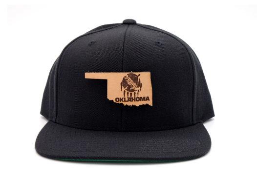 Oklahoma-Black-Flatbill-Snapback-Leather-Patch-Hat