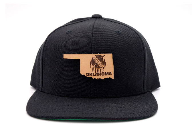 Oklahoma-Black-Flatbill-Snapback-Leather-Patch-Hat