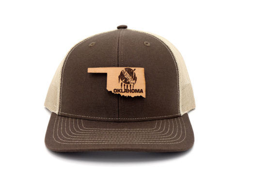 Oklahoma-Brown-Khaki-Trucker-Snapback-Leather-Patch-Hat