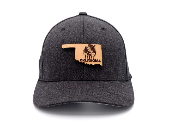 Oklahoma-Dark-Heather-Flexfit-Custom-Leather-Patch-Hat