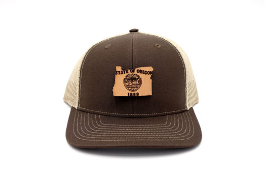 Oregon-Brown-Khaki-Trucker-Snapback-Leather-Patch-Hat