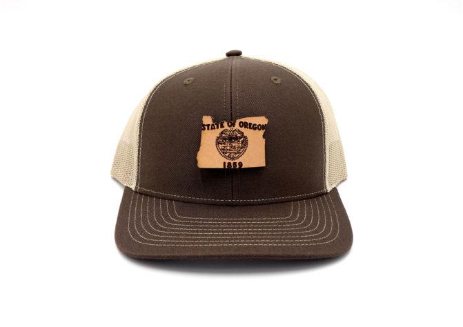 Oregon-Brown-Khaki-Trucker-Snapback-Leather-Patch-Hat
