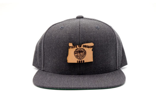 Oregon-Dark-Heather-Flatbill-Snapback-Leather-Patch-Hat