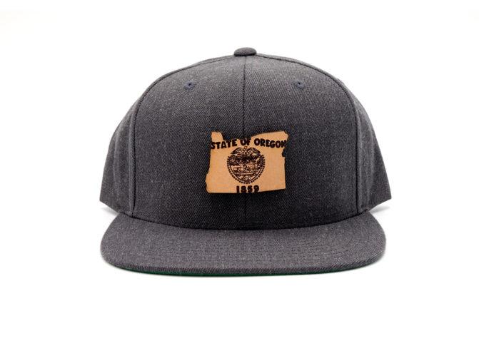 Oregon-Dark-Heather-Flatbill-Snapback-Leather-Patch-Hat