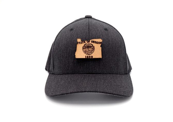 Oregon-Dark-Heather-Flexfit-Leather-Patch-Hat