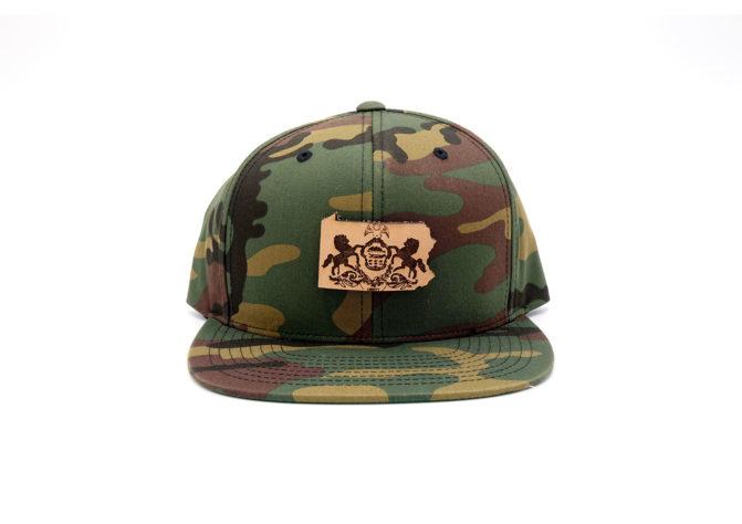 Pennsylvania-Camo-Flatbill-Snapback-Leather-Patch-Hat