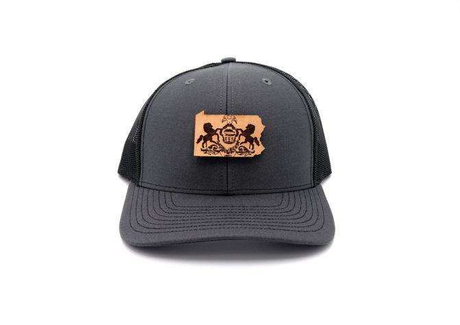 Pennsylvania-Charcoal-Black-Trucker-Snapback-Custom-Patch-Hat