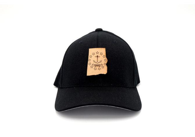 Rhode-Island-Black-Flexfit-Custom-Leather-Patch-Hat