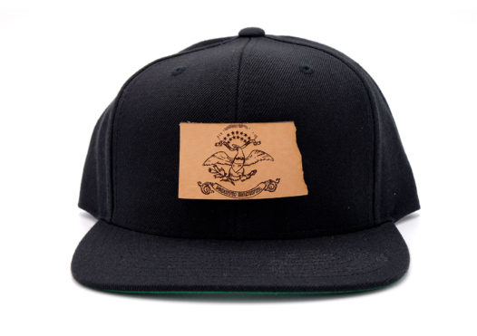South-Dakota-Black-Flatbill-Snapback-Leather-Patch-Hat
