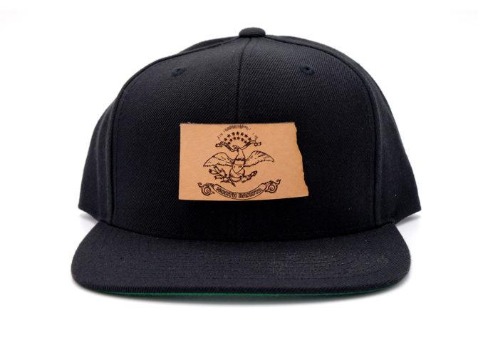 South-Dakota-Black-Flatbill-Snapback-Leather-Patch-Hat