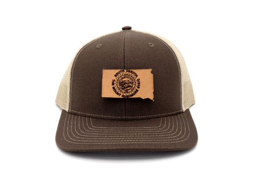 South-Dakota-Brown-Khaki-Trucker-Snapback-Custom-Patch-Hat