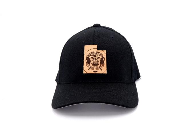 Utah-Black-Flexfit-Leather-Patch-Hat