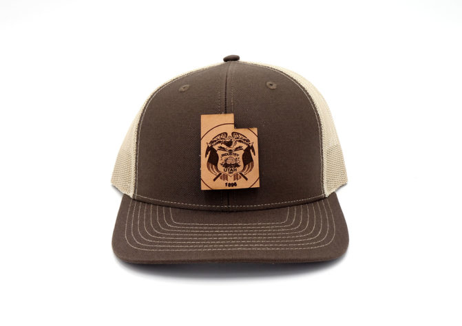Utah-Brown-Khaki-Trucker-Branded-Leather-State-Patch