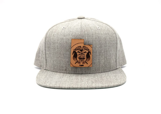 Utah-Heather-Grey-Flatbill-Snapback-Leather-Patch-Hat