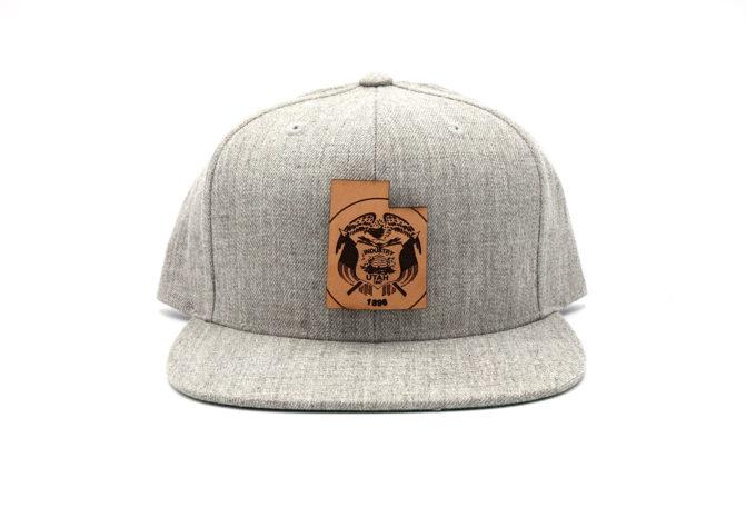 Utah-Heather-Grey-Flatbill-Snapback-Leather-Patch-Hat