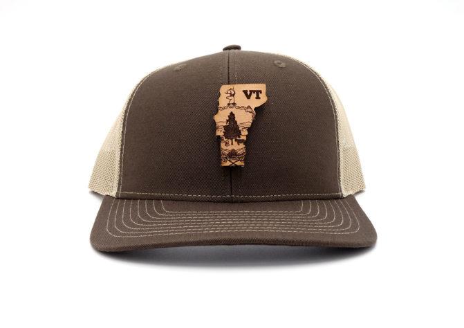 Vermont-Brown-Khaki-Trucker-Snapback-Custom-Patch-Hat