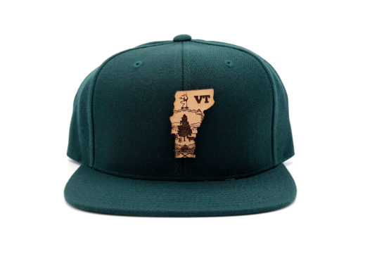 Vermont-Spruce-Flatbill-Snapback-Custom-Branded-Leather-Patch-Hat