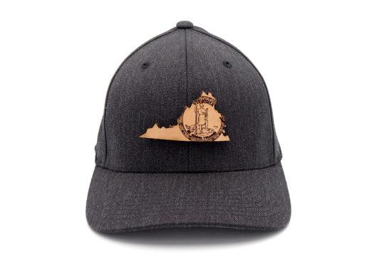 Virginia-Dark-Heather-Flexfit-Branded-Leather-Patch-hat
