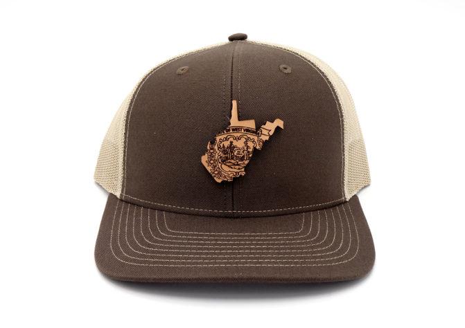 West-Virginia-Brown-Khaki-Trucker-Leather-Patch-Custom-Hat