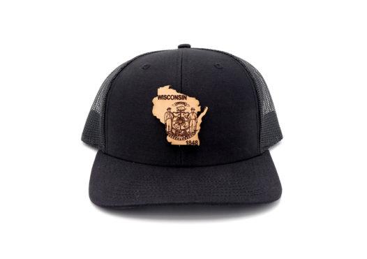 Wisconsin-Black-Trucker-Snapback-Custom-Patch-Hat