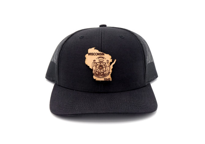 Wisconsin-Black-Trucker-Snapback-Custom-Patch-Hat