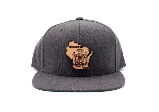 Wisconsin-Dark-Heather-Flatbill-Snapback-Custom-Patch-Hat