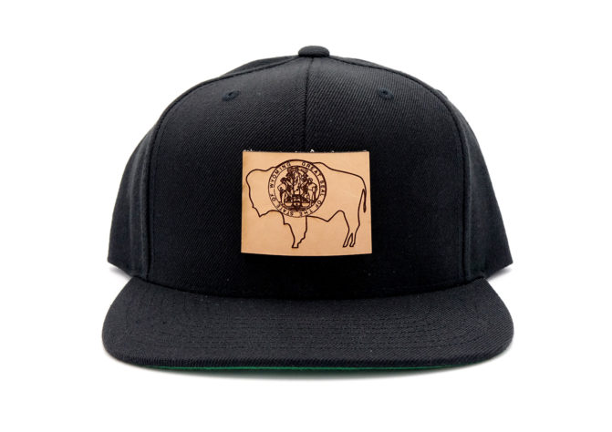 Wyoming-Black-Flatbill-Snapback-Leather-Patch-Hat