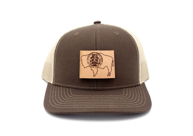 Wyoming-Brown-Khaki-Trucker-Leather-Patch-Hat